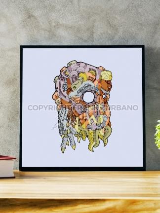 """Cthulhu Mask"" Color Print"