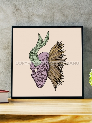 """Killmonger Mask"" Color Print"